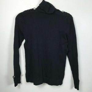 Cache' Medium Black Braided Button Ribbed Sweater